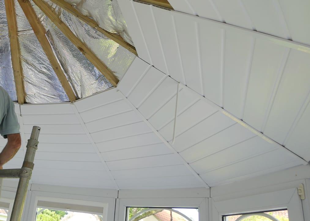 An insulated conservatory roof being take apart