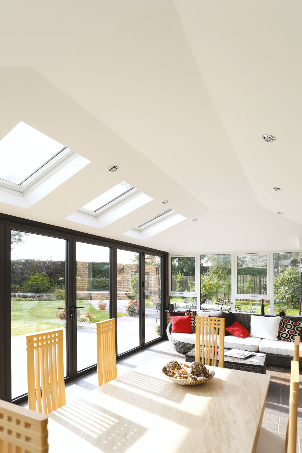 guardian warm roof solid roof conservatory with velux windows