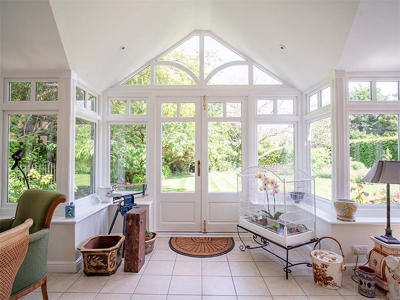 interior of a solid roof conservatory